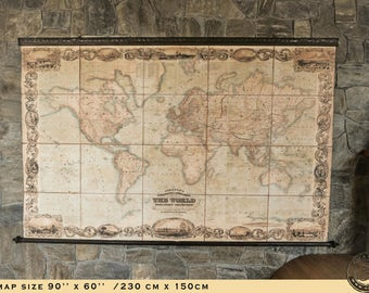 Amazing world map 1800, 90'' x 60'' , 230 x 150cm, Cotton canvas, Victorian, ZMAPS, World Cartography, Antique furniture, Hotel, Library