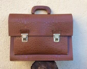Faux leather briefcase, rust brown vintage hand bag, vegan business document case, A4 map size school portfolio, men's office bag