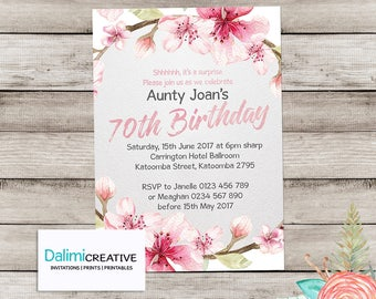 70th Birthday Invitation - Floral Birthday Invitation - Pink and Grey Invitation - Surprise Birthday Party - Printable Invitation!