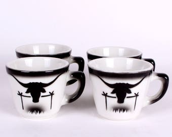 Jackson China Coffee Cups Vintage Restaurant Ware in Western Motif