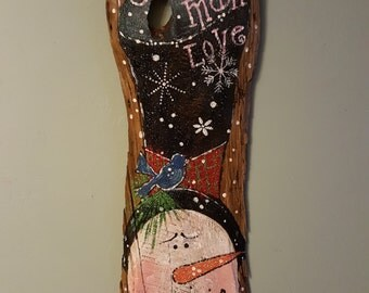 hand painted snowman on old barnwood