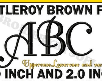 Fancy fontleroy brown Machine Embroidery design Font, Monogram 2 sizes