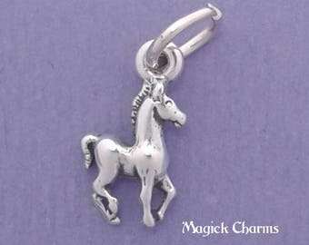 Tiny COLT Miniature Charm .925 Sterling Silver, Baby Horse, Foal, SMALL -  elp519