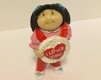 Vintage 1980s Cabbage Patch Figurine I Love You Brunette with Flowers Vintage CPK Mini Figurine