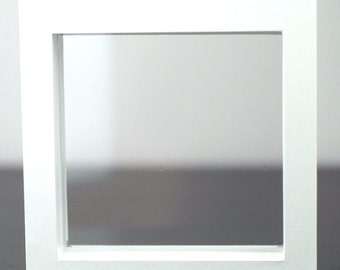 100x100x25 Display frame white faux leather box with clear membrane