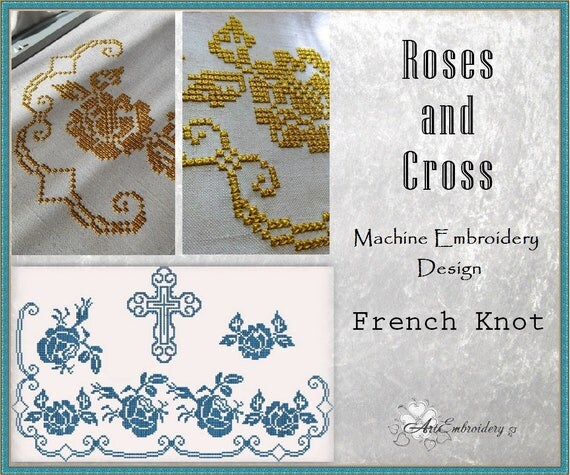 Roses and cross french knot embroidery designs set from