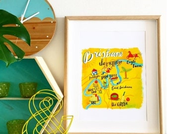 Map of Brisbane art print - A3