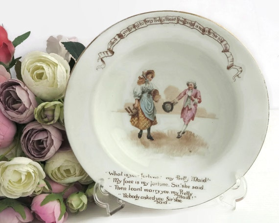 Antique Royal Doulton baby's bowl, nursery rhyme series, My Pretty Maid, lovely illustration with all the words, larger size, 1902 - 1922