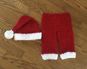 Crochet Santa Hat and Pants Set