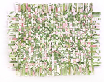 Greenery Paper Weaving- Mixed Media- Watercolor- Abstract Art- Woven Paper-  Pantone 2017- Green, Pink, White- 9x12