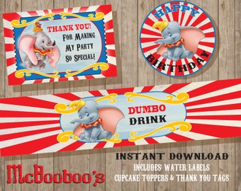 INSTANT DOWNLOAD Dumbo Birthday Party favors / water labels / cupcake toppers / thank you tags