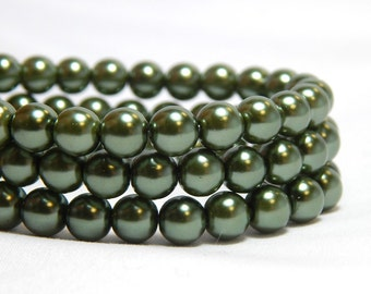 6mm Green Glass Pearls, 6mm Green Beads, Green Beads, Green Pearls, Forest Green Glass Pearls, Dark Green Pearls, Green Glass Pearls, T-95A