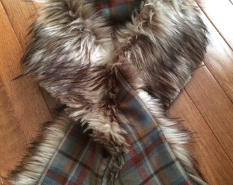 Faux Fur and Teal Plaid Scarf