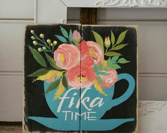 Fika Floral Coffee cup art  - handpainted decor