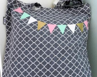 Tote Bag| Fabric Bag| Shopper| Grey Bag| Handmade Bag| Market Bag| Graphic Bag