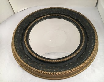 Vintage Mirror - Vintage Wall Mirror - Round Mirror - Vintage Round Mirror - Black and Gold Mirror - Vintage Wall Decor - Black Wall Mirror