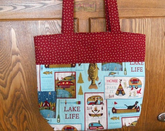 Large Lined Tote Bag with Vintage Trailers/Camping Print