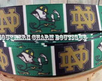 "3 yards of 7/8"" Notre Dame Fighting Irish grosgrain  ribbon"