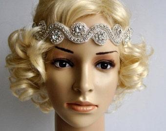 Wedding Headband,Rhinestone Headband, Crystal Headband, Wedding Bridal Headpiece, Headpiece, 1920s Flapper great gatsby headband