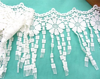 Tassel lace trim for DIY sewing,white circle lace trimming,flower hollow up trim-23cm
