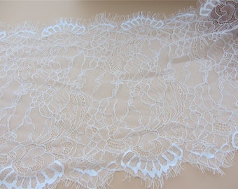 "12.9""*115"",3 Yards Exquisite Chantilly Lace, Eyelash Lace Trim in Black For Wedding, Shawls, Black Skirt, Lingerie,white lace trim"