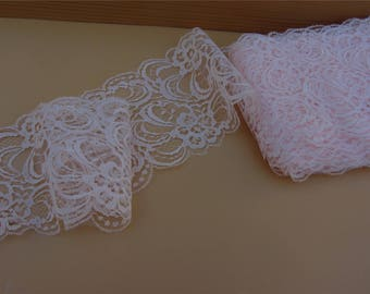 Pink Lace Trim 3.5in. wide 5/10 yds. . ~ Wedding Decor, Mason Jars - Wedding Runners - Invitations