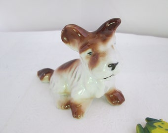 Brown and White Scottish Terrier Dog Figurine Scottie dog Scotty dog pottery Scotty figurine Scottie figure Scotty figure Scottie figurine