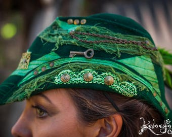 Felt Hat - medium, Green, Steampunk Victorian, White Parade, Burning Man, Festival Clothing, Elegant, Robin Hood, Pixie, Forested hat,