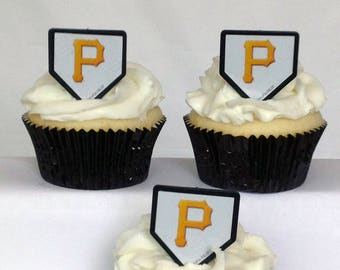 12 Pittsburgh Pirates Cupcake Rings MLB Baseball Toppers Party Favors