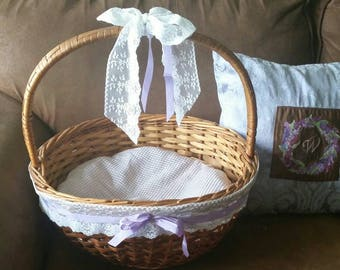 Cat Bed Vintage Wicker Basket w Handle Lavender on White Handmade Cushion  Washable Pet Furniture Rattan Purple Cottage Chic Home Decor