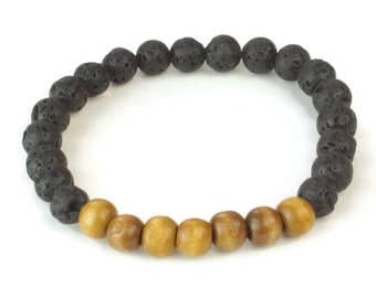 Lava Bead Bracelet, Diffuser Bracelet, Wood Bead bracelet, Stackable Bracelet, Lava Rock Bracelet, Mens Bracelet, Mens jewelry, unisex