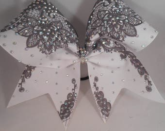 Cheer Bow Sublimated Lace Black on White Grosgrain w AB Chrystal Rhinestones