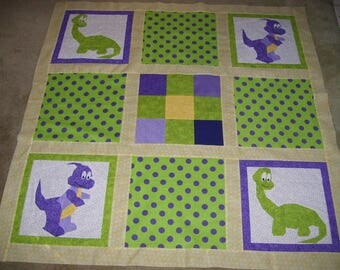 Unfinished child's quilt top-dinosaur quilt top-quilt top for child-children's quilt top-dinosaur's
