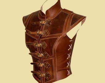 Reinforced jerkin for women made of leather -Deluxe-