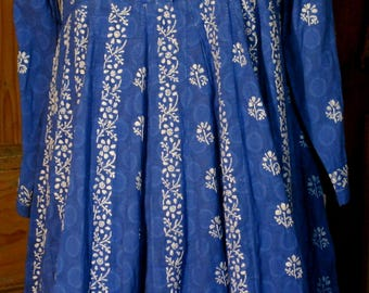 Blue hand embroided 100% Cotton Dress