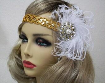 Flapper headband, Gatsby headpiece, Gold 1920s headband, Feather headband, 1920s costume, roaring 20s, 1920s hair accessory, Renaissance