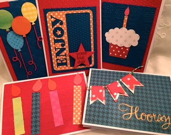 Birthday Cards - Card Set - Handmade Cards - Card Assortment - Greeting Cards - Kids Birthday - Birthday Set - Card Pack - Assorted Cards