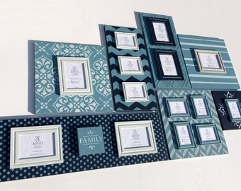Night Sky Collection: 7 piece wood picture frame gallery wall grouping. Unique, removable magnetic frames and plaques. Family Photo Collage