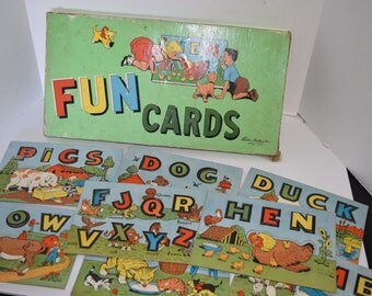 Vintage 1950's Parker Brothers Punch Card Word Cards - Complete