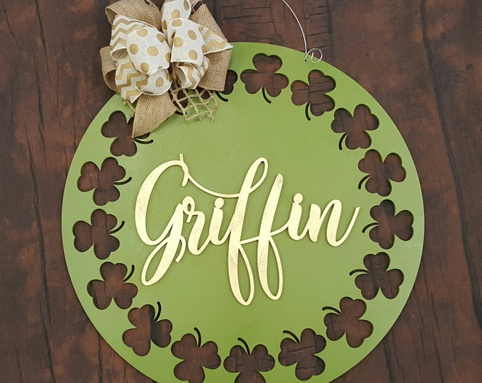 St Patrick Wooden Sign - St Patty Wreath - Irish Wall Hanging = Wedding Decor - Personalized