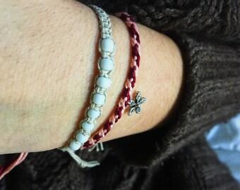 Flower Charm Pink and Burgundy Woven Friendship Bracelet Boho Chic Style Winter Fashion