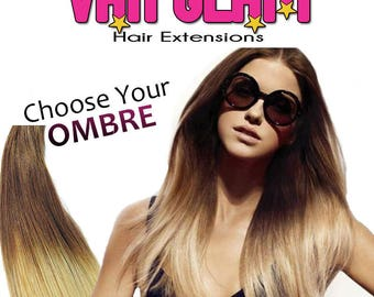 "Choose Your Ombre, Halo Hair Extensions, 20"", Double Drawn, 100% Cuticle Remy"