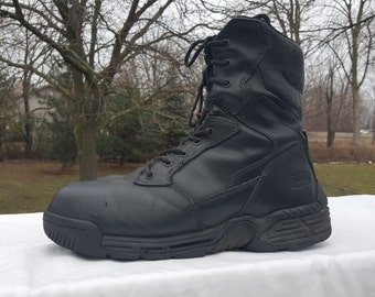 MAGNUM Combat Boots, Military Field Boots, Men's Size 10 Hard Toe Army Boots, Black Leather Boots, Hiking Boots, Camping/Hunting Boots