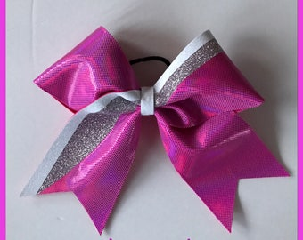 Cheer Bow~pink, white and silver