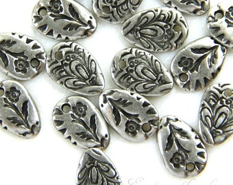 Flora Charm, TierraCast, Jardin Dulce Vida Collection, Jewelry Findings, Antiqued Pewter, Double Sided Charms, 6 Pieces, 9340.........