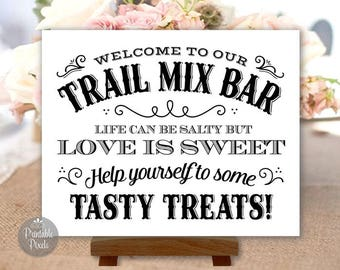 Printable Trail Mix Bar Sign, Black and White, Western Style, Wedding, Party (#TRL1B)