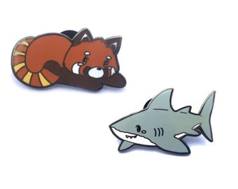 Red Panda and Shark Enamel Pin