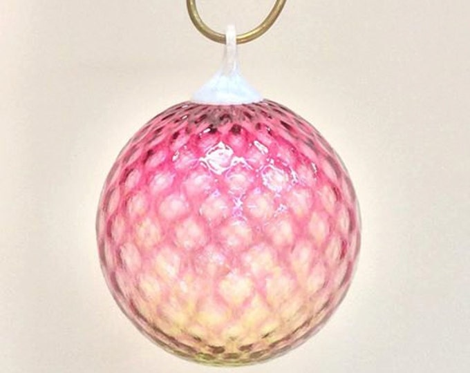 SALE ~ Pink and Yellow Faceted Ornament