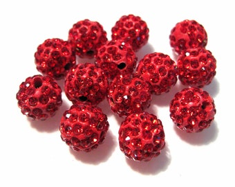 10pcs Red Polymer Clay Rhinestone Beads Pave Disco Ball Beads 10mm --Grade AAA
