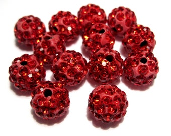 10pcs Red Polymer Clay Rhinestone Beads Pave Disco Ball Beads - Grade A 10mm